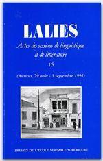 Revue Lalies N.15 - Couverture - Format classique