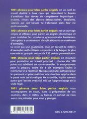 1001 Phrases Pour Bien Parler En Anglais Un Peu De Grammaire, Beaucoup D'Exemples - 4ème de couverture - Format classique