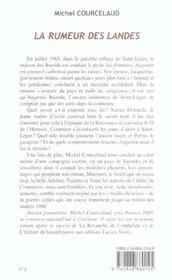La rumeur des landes - 4ème de couverture - Format classique