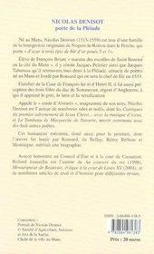 Nicolas Denisot, poète de la pléiade - 4ème de couverture - Format classique