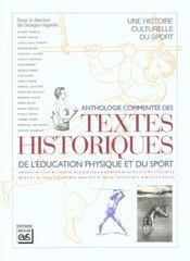 Anthologie commentée des textes historiques de l'éducation physique et du sport - Intérieur - Format classique