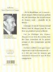 Politique Des Francs Macons - 4ème de couverture - Format classique