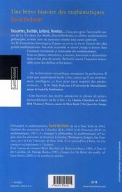 Une brève histoire des maths - 4ème de couverture - Format classique