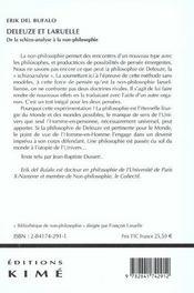 Deleuze Et Laruelle - 4ème de couverture - Format classique