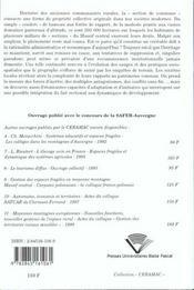Sections Et Biens Sectionaux Dans Le Massif Central. Heritage Et Amen Agement De L'Espace - 4ème de couverture - Format classique