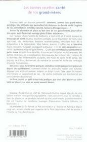 Bonnes Recettes Sante De Nos Grand-Meres - 4ème de couverture - Format classique