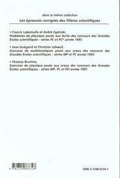 Problemes Corriges De Physique Chimie Concours Scientifiques Tome 2 1997 Serie Pt - 4ème de couverture - Format classique