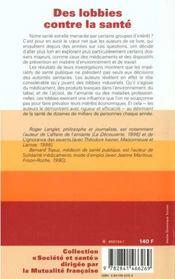 Des Lobbies Contre La Sante - 4ème de couverture - Format classique