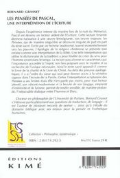 Pensees De Pascal,Une Interpretation De L'Ecriture (Les - 4ème de couverture - Format classique