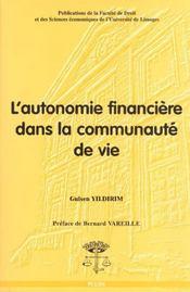 L'Autonomie Financiere Dans La Communaute De Vie - Intérieur - Format classique
