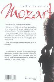 Mozart La Fin De Sa Vie - 4ème de couverture - Format classique