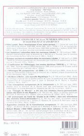 Revue Allemagne D'Aujourd'Hui N.169 ; Il Y A 15 Ans, La Chute Du Mur De Berlin - 4ème de couverture - Format classique