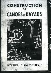 Constructions De Canoës Et Kayaks. Manuel Pratique. - Couverture - Format classique