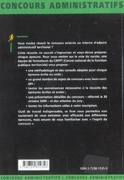 Adjoint Administratif Territorial Categorie C Nouvelle Edition Concours Externe Et Interne - 4ème de couverture - Format classique