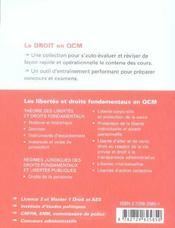 Les Libertes Et Droits Fondamentaux En Qcm - 4ème de couverture - Format classique