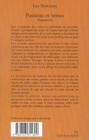 Passions Et Vertus - 4ème de couverture - Format classique