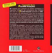 Essentiel de la fiscalite francaise 2002 (l') - 4ème de couverture - Format classique