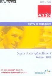 Acces ; Sujets Et Corriges Officiels Concours 2005 - Intérieur - Format classique