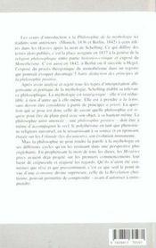 Lecons Inedites Sur La Philosophie De La Mythologie - 4ème de couverture - Format classique