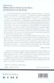 Kierkegaard en france au xxeme siecle - 4ème de couverture - Format classique