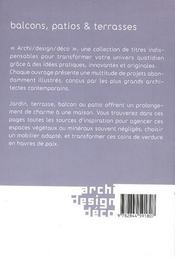 Blacons, patios & terrasses - 4ème de couverture - Format classique