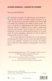 Jacques Roubaud L'Amour Du Nombre - 4ème de couverture - Format classique