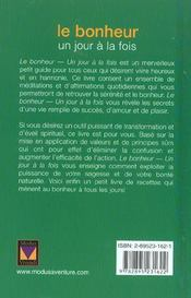 Un Jour A La Fois ; Le Bonheur - 4ème de couverture - Format classique