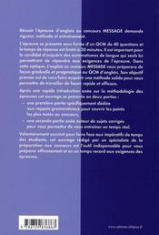 L'Anglais Au Concours Message Methodologie Epreuves D'Entrainement - 4ème de couverture - Format classique