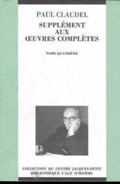 Supplément aux oeuvres complètes t.4 - Couverture - Format classique
