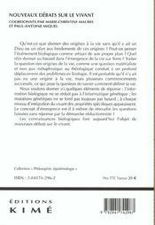Nouveaux Debats Sur Le Vivant - 4ème de couverture - Format classique