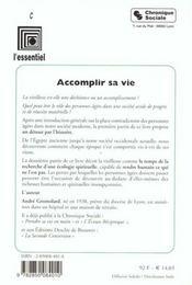 Accomplir Sa Vie - 4ème de couverture - Format classique
