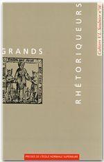Grands rhétoriqueurs - Couverture - Format classique