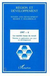 Region Et Developpement 6 Les Marches Locaux Du Trava - Couverture - Format classique
