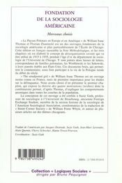 Fondation De La Sociologie Americaine ; Morceaux Choisis - 4ème de couverture - Format classique