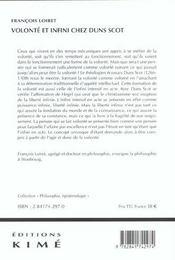 Volonte Et Infini Chez Duns Scot - 4ème de couverture - Format classique