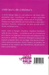 Intérieurs de créateurs - 4ème de couverture - Format classique