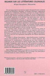 Regards sur les littératures coloniales t.1 ; Afrique francophone : découvertes - 4ème de couverture - Format classique