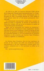 Le Tribunal Penal International De La Haye ; Le Droit A L'Epreuve De La Purification Ethnique - 4ème de couverture - Format classique