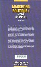 Marketing Politique : Mode D'Emploi - 4ème de couverture - Format classique