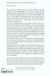 Gouverner Par Le Bien Commun - 4ème de couverture - Format classique