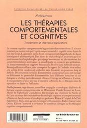 Therapies Comportementales Cognitives - 4ème de couverture - Format classique