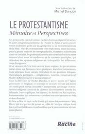 Le protestantisme, mémoire et perspectives - 4ème de couverture - Format classique