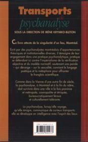 Transports de psychanalyse - 4ème de couverture - Format classique
