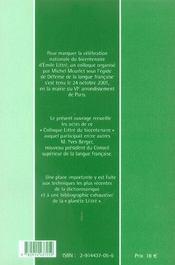 Littré au xxi siècle - 4ème de couverture - Format classique
