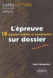L'Epreuve Sur Dossier 18 Dossiers Traites Et Commentes Nouvelle Edition - Intérieur - Format classique