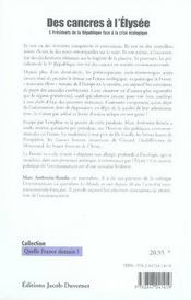 Des cancres à l'élysée ; 5 présidents de la république face à la crise écologique - 4ème de couverture - Format classique