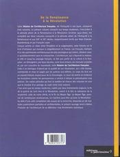 Histoire de l'architecture française t.2 ; de la Renaissance à la Révolution - 4ème de couverture - Format classique