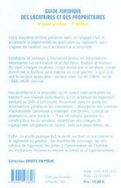 Guide juridique locataires et proprietaires ; 3e edition - 4ème de couverture - Format classique