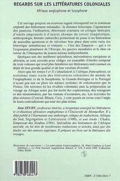 Regard sur les littératures coloniales t.3 ; Afrique anglophone et lusophone - 4ème de couverture - Format classique