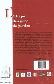 L'Ethique Des Gens De Justice. Colloque Tenu A Limoges, 19 Et 20 Oct. 2000 - 4ème de couverture - Format classique
